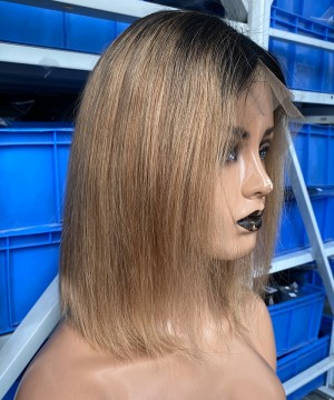 Dolago 1B/27 Ombre Color Lace Front Human Hair Wigs Pre Plucked With Baby Hair 1B/27 Two Tone Colorful Lace  Wigs For Black Women
