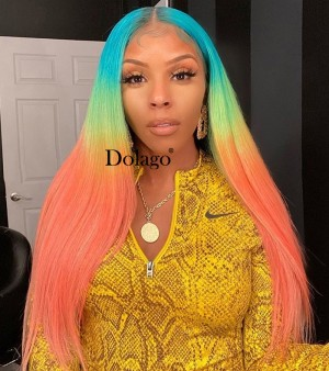 Dolago Colorful Wig Rainbow Colored Full Lace Human Hair Wigs Straight Lace Frontal Wig Brazilian HD Transparent Lace Wig