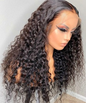 Quality deep curly invisible lace front human hair wigs for sale