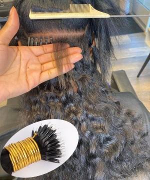 deep curly human hair extensions for women nano ring hair
