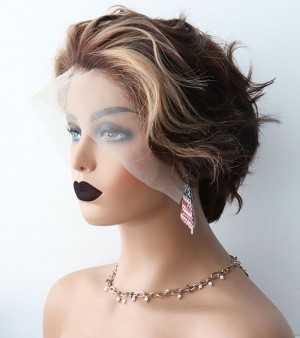 Dolago Hair Wigs Ombre Pixie Cut Lace Wig Blunt Cut Bob Lace Front Wigs Short Human Hair Wigs Weave Colorful Lace Front Human Hair Wigs Brazilian Lace Wig Pre Plucked With Baby Hair