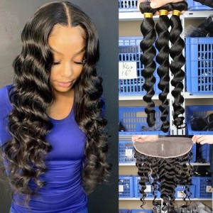 Dolago Hair Weaves  Loose Wave Human Hair Extension 3Pcs Natural Looking Brazilian Human Virgin Hair Bundles For Black Women Natural Color Can Be Dyed And Bleacked