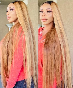 Dolago Hair Wigs Highlight 360 Lace Frontal Wig Pre Plucked With Baby Hair Colorful 180% Density Straight Lace Front Human Virgin Hair Wigs For Black Women