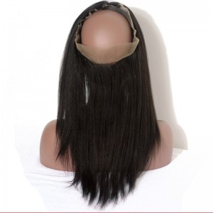 Dolago Yaki Straight Brazilian Human Hair 360 Lace Frontal With Natural Hairline