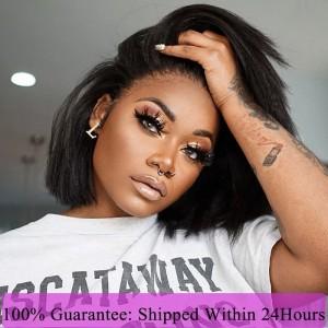 Dolago Kinky Straight Bob 13x6 150% Lace Front Brazilian 10A Human Virgin Hair Wigs Yaki Straight Short Bob For Black Women