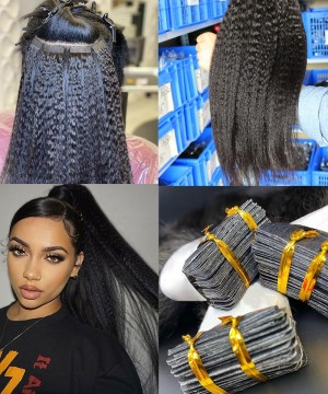 Brazilian Kinky Straight Tape In Human Hair Extensions For Sale