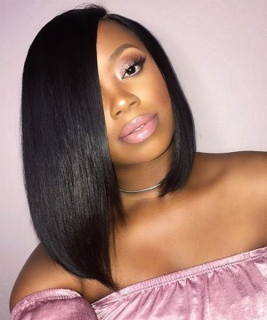 Dolago Hair Short Straight 4X4 Lace Closure Wigs With Baby Hair 150% Density Closure Human Hair Wigs 10-16 inches short Straight bob wigs for black women