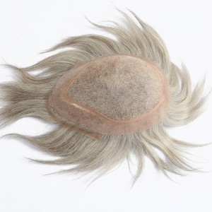Dolago New Fasion Silver Grey Hair Thin Skin Men Toupee Swiss Lace Cheap Toupee For Men