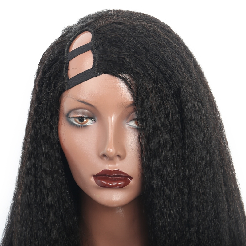 Kinky straight u part wigs right side