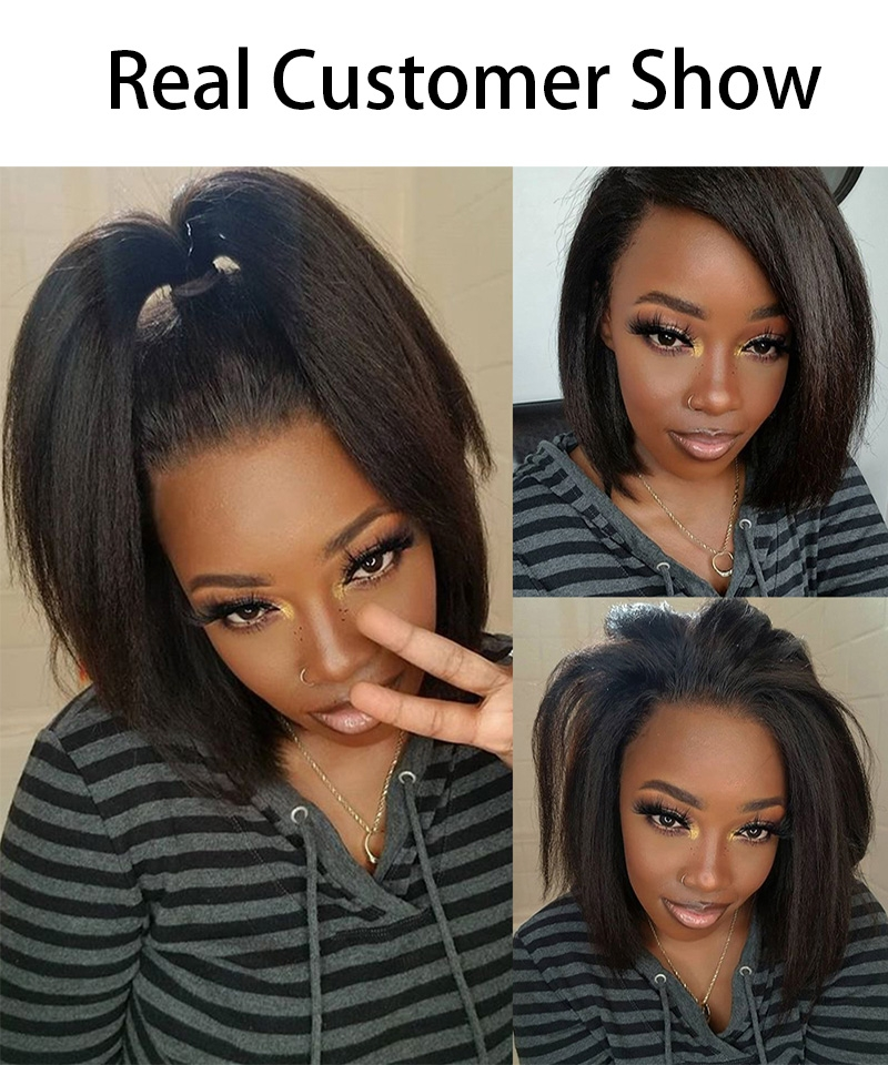 Dolago Breathable Cap 13x6 Lace Front Wigs Kinky Straight 150% Density