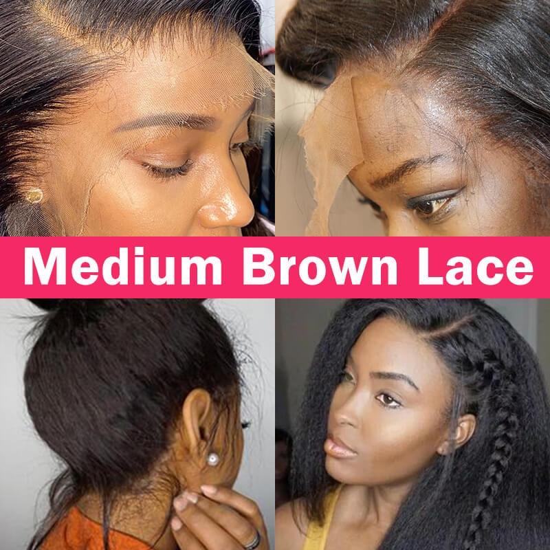 medium lace wigs kinky straight