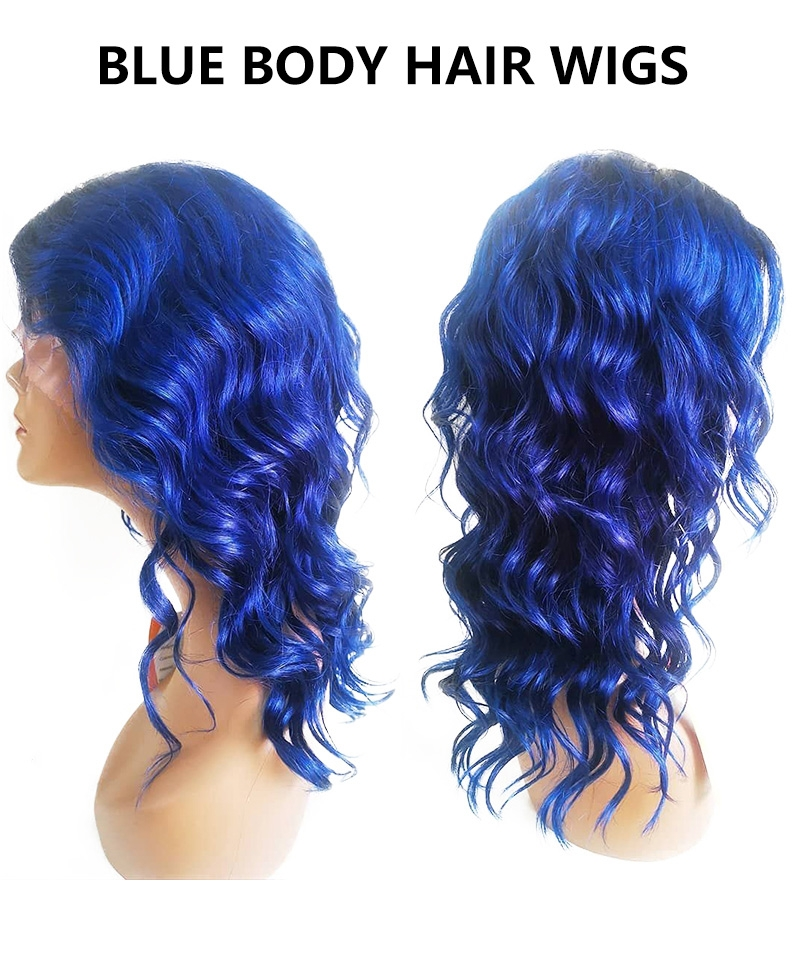 Dolago Colorful Wig Blue Straight 13x6 150% Density Transparent Lace Front 10A Wig Brazilian Human Virgin Hair Wigs