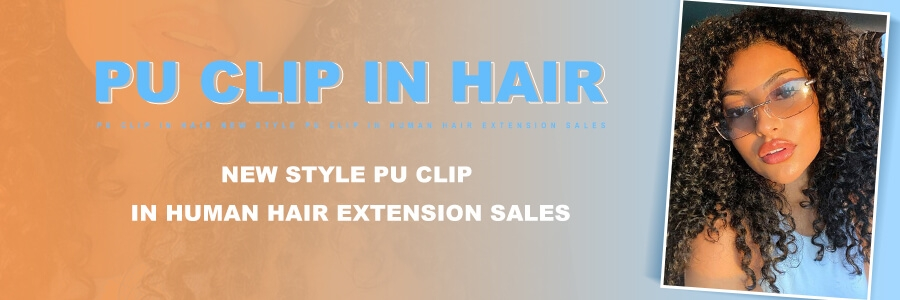 pu clip in human hair for sale