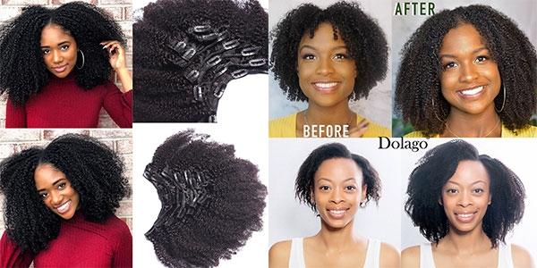 3B 3C kinky Curly clip in hair